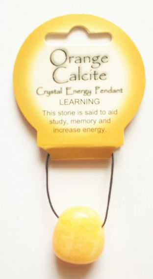 Crystal Energy - Orange Calcite - Learning - Tumble Stone Pendant